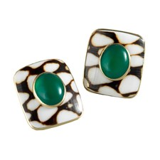 Marble Cone Shell Earrings Green Onyx