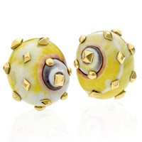 Yellow Polymita Picta Shell Earrings