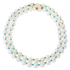 Two Strand Pearl & Turquoise Necklaces