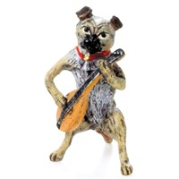 Austrian Bronze Pug with Mandolin Figurine