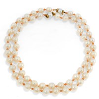 Nesting Freshwater Pearl Necklace with Pink Coral Beads