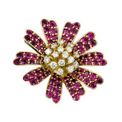 18k Daisy Pin with Rubies and Diamonds