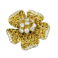 Magnolia Pin Yellow Sapphires Diamonds