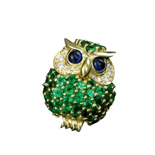 18K Small Owl Pin Tsavorites Diamonda