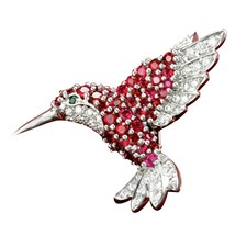 18k White Gold Ruby Hummingbird Pin