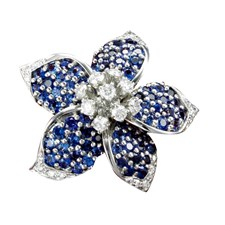 Platinum Flower Pin Sapphires Diamonds