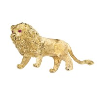 18K Gold Lion Pin