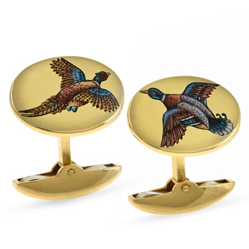 18k Gold Cufflinks with Game Birds