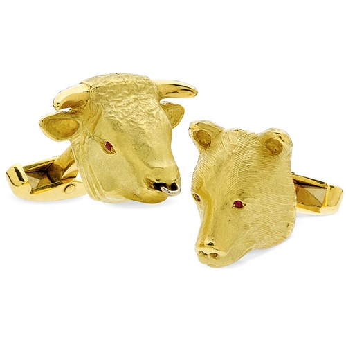 18k Large Bull & Bear Cufflinks with Ruby Eyes