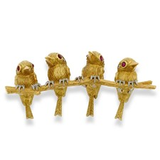 18k Gold Four Birds on Branch Pin with Ruby Eyes