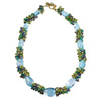 Blue Topaz and Cluster Necklace