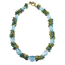 18k Gold Blue Topaz Cluster Necklace