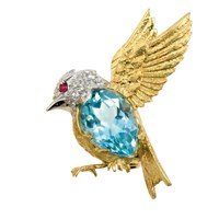 Songbird Pin Blue Topaz & Diamonds YG