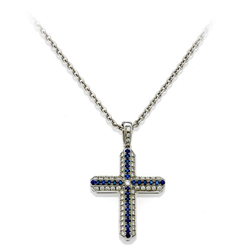 18K White Gold Diamond & Sapphire Pendant Necklace