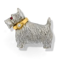 18k White Gold Scottie Dog Brooch with Diamond