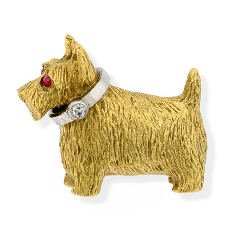 18k Gold Scottie Dog Brooch with Diamond