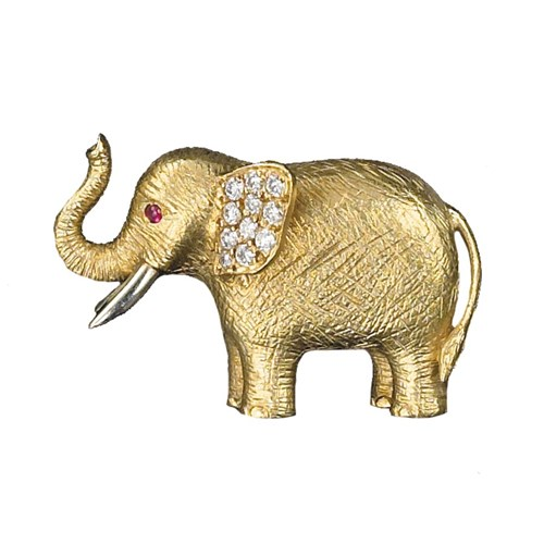 18k Gold and Diamond Elephant Pin