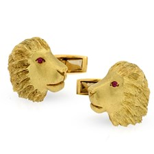 18k Gold Lion Cufflinks with Ruby Eyes