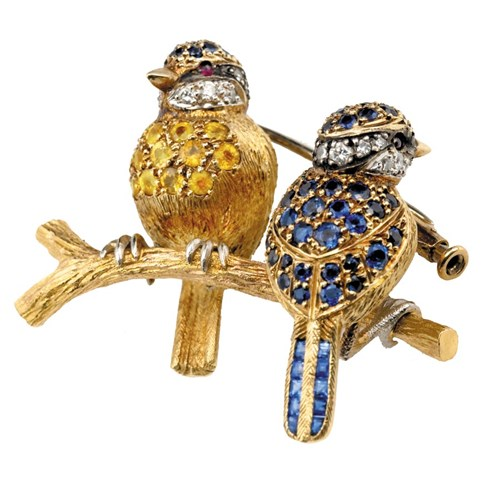 18k Yellow Gold Blue Tits Pin with Sapphires