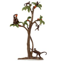 Austrian Bronze Monkeys on Tree Figurine