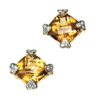Citrine & Diamond Square Earrings