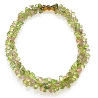 Prehnite and Rose Quartz Necklace with 18k Gold Clasp