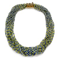 Tanzanite and Chrysoberyl Bead Necklace with 18k Gold Clasp