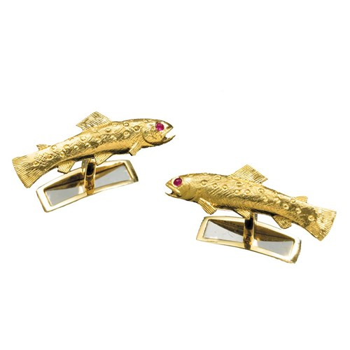 18k Gold Trout Cufflinks Ruby Eyes