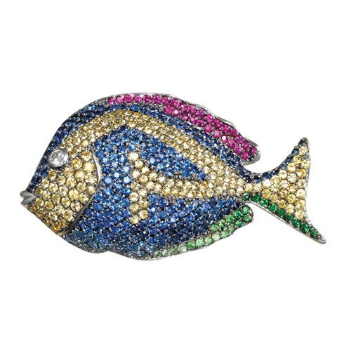 18k Gold Multi-Colored Fish Pin