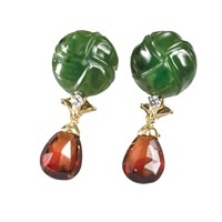 Earrings Jade Carved Knots Pear Garnets
