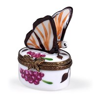 Brown Butterfly Grape Limoges Box