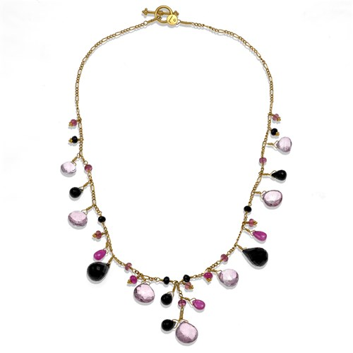 22k Multi-Stone Cluster Necklace with Topaz, Onyx, Ruby & Tourmaline