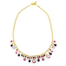 18k Gold Pink Multi-Stone Necklace