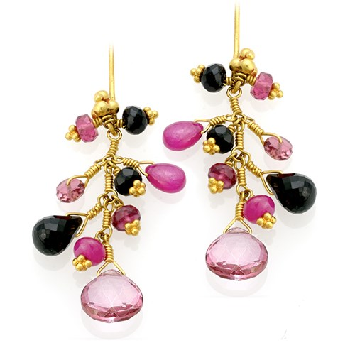 22k Gold Earrings with Topaz, Onyx, Ruby, Tourmaline
