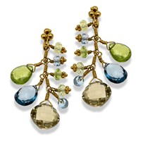 22k Gold Multi-Stone Earrings with Topaz, Peridot & Chrysoberyl