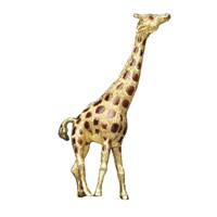 18k Gold & Enamel Giraffe Pin with Ruby Eyes