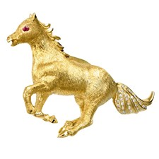 18k Yellow Gold Mustang Pin