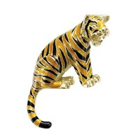Tiger Pin 18k Gold & Enamel