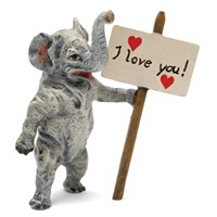 "Austrian Bronze Elephant with ""I Love You"" Sign Figurine"