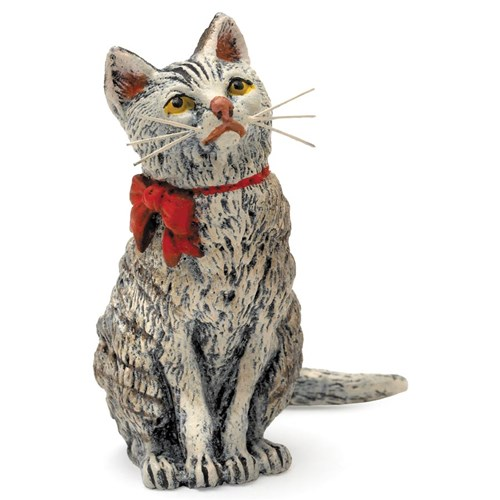 Austrian Bronze Cat Red Bow Tall Left Figurine