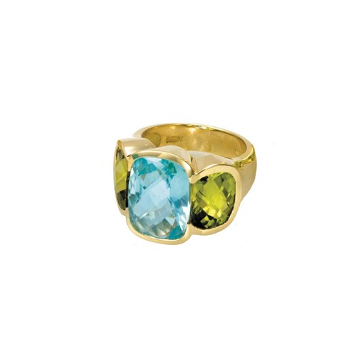 Blue Topaz & Peridot Ring 18k Gold