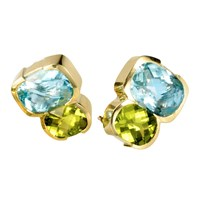 18k Gold Blue Topaz & Peridot Earrings