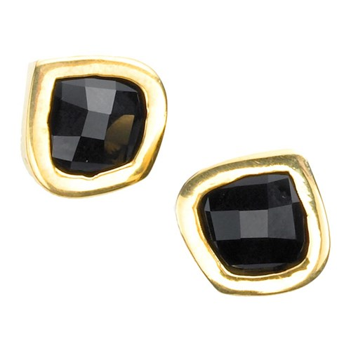 Black Onyx Lotus Earrings 18k Gold