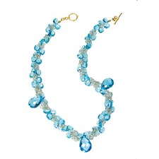 18k Yellow Gold Blue Topaz Necklace