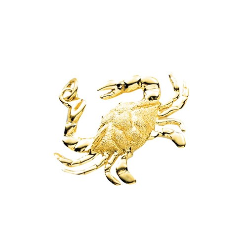18k Gold Blue Crab Charm