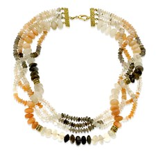 18k Gold Mixed Color Moonstone Necklace