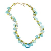 Blue Topaz Chalcedony Citrine Necklace