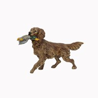Austrian Bronze Golden Retriever with Duck in Mouth Figurine