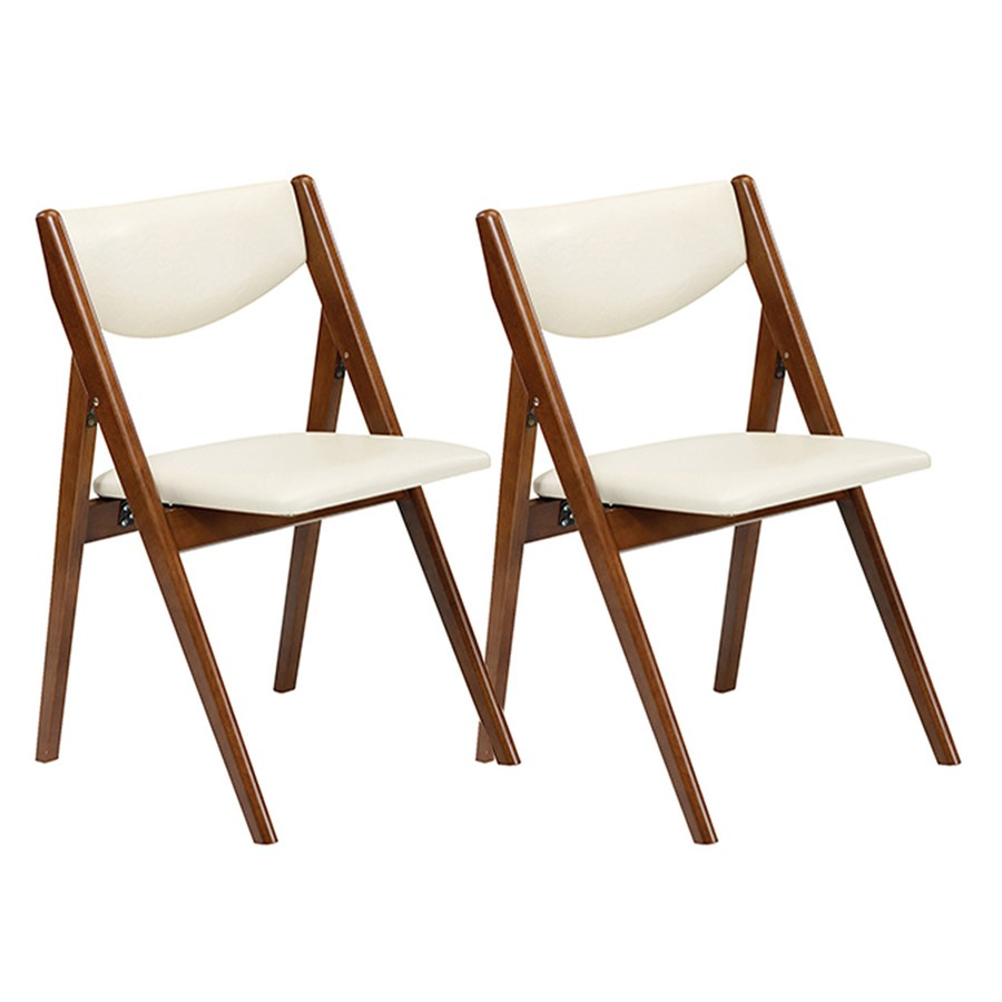 Collapsible chairs - Pair Folding A Frame Chair White Vinyl