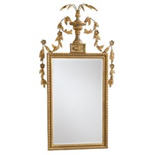 Beveled Mirror with Gray and Gold Frame